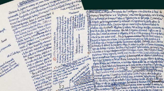 AAC : Penser en paroles : la philosophie à la loupe de ses manuscrits et archives